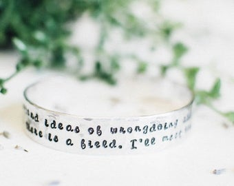 SALE Inspirational Rumi quote bracelet. Out beyond ideas of wrongdoing quote. Yoga jewelry. Inspirational gift. Hand stamped bracelet. RTS C