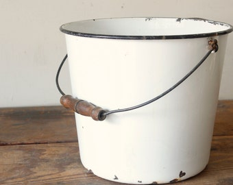 Enamel Bucket Vintage Milk Pail White Metal Bucket Black Rim Rustic Dairy Farm