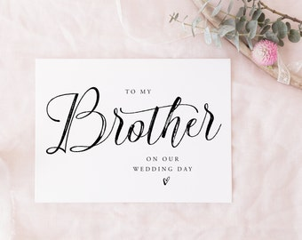 Printable To My Brother Instant download | wedding party card, bridal party card digital download, on my wedding day