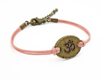 OM Bracelet, Light Coral Bracelet, Hindu Symbol Bracelet, Yoga Bracelet, Friendship Bracelet