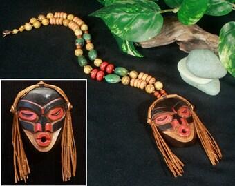 Shaman Necklace, Tribal Necklace, American Indian Jewelry, Ethnic Necklace, Native American Jewelry, Tsonokwa Shaman Mask, Ethnic