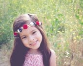 Red White Blue Patriotic Fourth of July Flower Crown Floral Crown - Floral Halo Boho Headband Newborn Photo Prop Shabby Chic