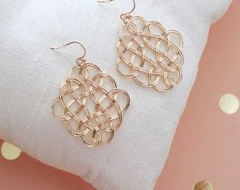 Rose Gold Loop Charm Earrings, Rose Gold Dangle Earrings, Moroccan Earrings, Bridesmaid Earrings, Bridal Shower Gift, Rose Gold Earrings