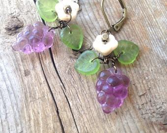 Purple Grape Earrings Dangles with leaves and a flower Czech Glass Earrings