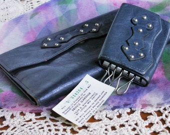 Vintage Leather Princess Gardner Wallet and Key Holder in Navy Blue Cowhide Original Paper ID