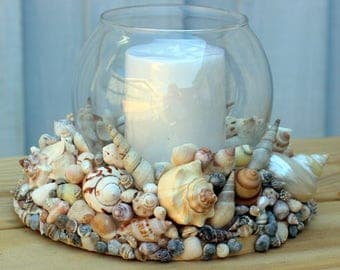 Hurricane Shell Candle Holder  Centerpiece in Beach House Style