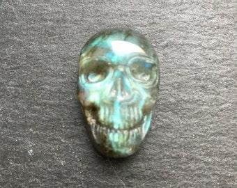 30 mm Blue Flash Labradorite skull cabochon - flat back for bezel or wire-wrap - Item #17-022805