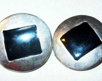 "Black Silver Earrings Hammered Metal Comfort Clips Round Square Design 1 1/4"" Vintage"
