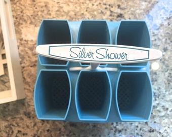 Vintage Deep TURQUOISE CERULEAN BLUE Dishwasher Basket Kitchen Gadgets Silverware Holder Organizer Caddy Plastic Art Supplies Paint Brushes