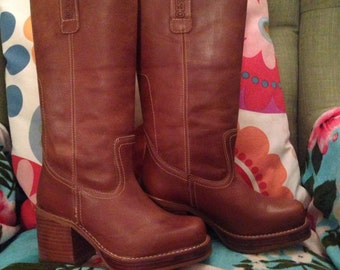 Destroy made in Spain genuine leather country heel chunky platform brown boots