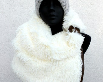 Unisex scarf. Snaps cowl, Extra Wide, faux long hair fur. Mens winter, Husband gift, Trendy, modern and cozy.
