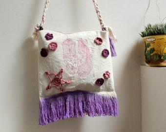 Ombre shoulder bag,embroidered birds,flowers & cage, crochet applique,vegan tote bag,Hand dyed crossbody,cotton canvas,rope straps, fringes