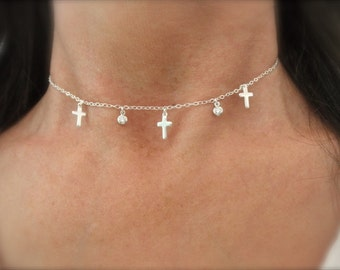 multi cross choker with cz charms - silver cross necklace - mini cross necklace - cz disc necklace - silver - gold cross choker