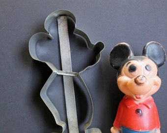 Vintage Tin Mickey Mouse Cookie Cutter // Large Cookie Cutter