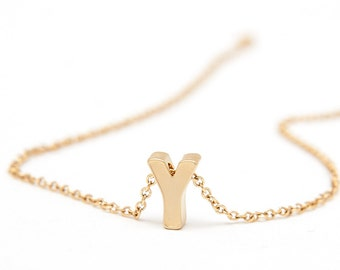 Simple Gold Initial Charm Necklace - Letter Charm Necklace - Gold Uppercase Initial Necklace - Layering Necklaces - Gift for Bridesmaids