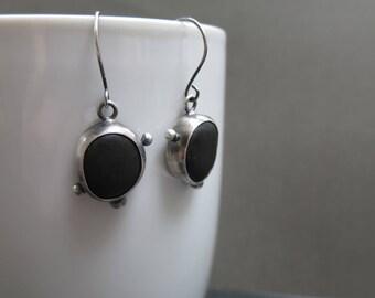 Beachstone Earrings, Sterling Silver Earrings, Dangle Earrings, Beach Stone Earrings, Handmade Artisan Earrings