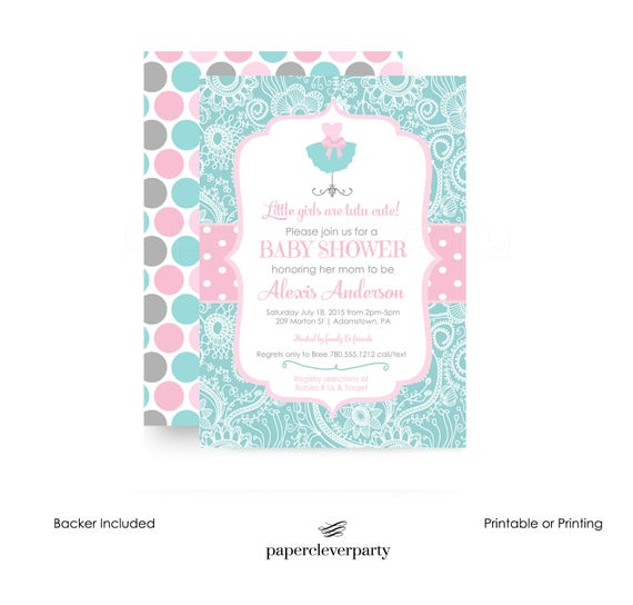 tutu cute baby shower invitations whimsy floral pink mint baby