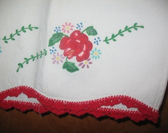 Single White Pillowcase with Hand Painted Red Roses Green Leaves Crochet Trim