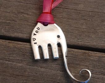 I LOVE YOU hand stamped ELEPHANT ornament made froM Fork with pink and Red ribbon