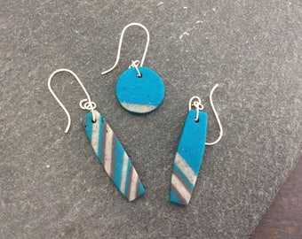 Mismatched earrings - polymer clay earrings - set of three -