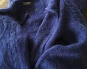ANGORA SWEATER COAT Duster Blue Full Length Mohair Size Medium Size Medium/Large Vintage
