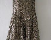 Vintage Gold Glitter Sequin Dress
