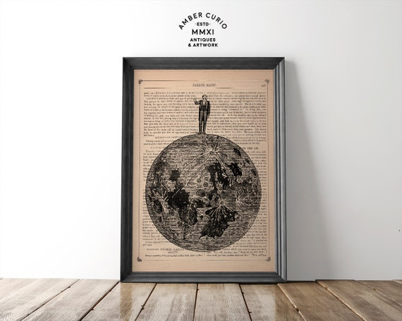 The Man On The Moon Original Victorian Black and White Collage Print on an Unframed Upcycled Bookpage