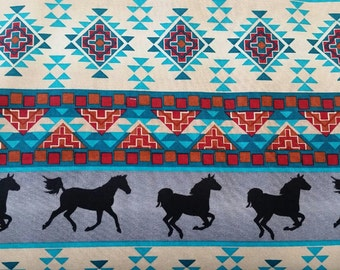 Wild West Native American/ American Indian Fabric by the yard, horse fabric, geometric fabric