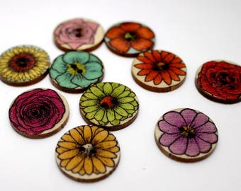 """30 PC Painted wood buttons 20mm - Wooden Buttons ,buttons, natural wood buttons """"Chrysanthemum"""" A090"""