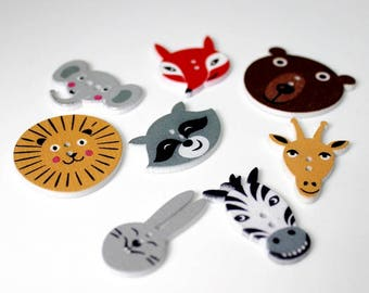 """30 PC Painted wood buttons 30mm - Wooden Buttons ,buttons, natural wood buttons """"animal"""" A097"""