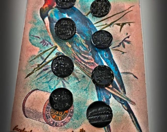 Jet Black Glass Victorian Mourning Buttons 8 Pcs