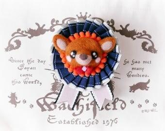 Handmade felt deer rosette badge, handmade needle felt fawn rosette brooch, needle felt animal bag charm, black ribbon, gift under 20