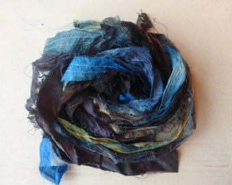 10 hand dyed silk ribbons approx 1m each mix of texture/colour - FR27