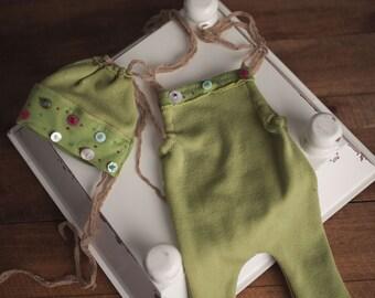 Girls Green Button Romper and Bonnet OOAK Newborn Photography Prop Girls