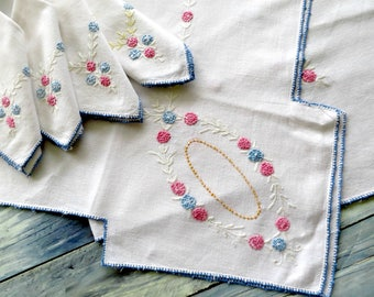 Small Embroidered Tablecloth w 4 Matching Napkins, Card Table Cover, Bridge Tablecloth, Pink Blue,  Vintage Linens by TheSweetBasilShoppe