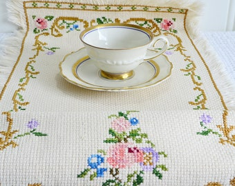 "Small cross stitched linen table runner, vintage Swedish embroidery, beige linen, sixties needlepoint, 28 "" x 9 """