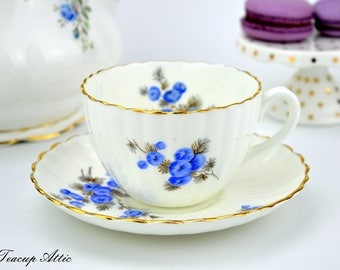 Radfords Vintage Teacup And Saucer Set With Blue Flowers, English Bone China Tea Cup Set, Garden Tea Party, ca 1938-1957