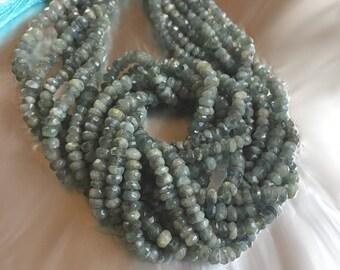 Moss Aquamarine Rondelles Blue-Green Gemstone Beads Natural mossy roundels