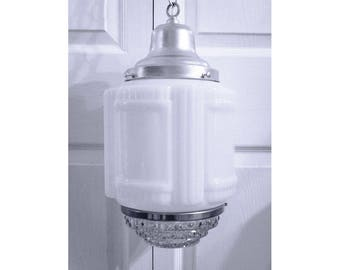 Mid Century Pendant Light Art Deco Glass Shade w/ Stepped Clear Glass Diffuser Bottom Silver Hardware
