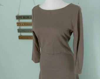 Vintage Garnet Hill Women's Wool Blend Boat/ Bateau Neck Dress
