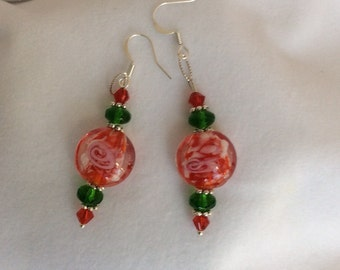 Red with white design Glass bead, silver spacer & Czech crystal Christmas earrings - Sale