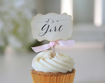 It's a girl, Baby shower, Cupcake toppers, Pink, Decor, Candy table, Favors, 12 toppers per set