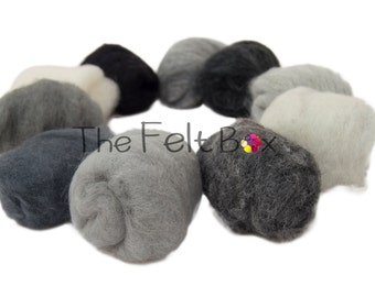 Grey, White, Black Needle felting wool, Embellishment Wool, Carded wool for felting, unspun fibre, wool batt, 100g  3.5 ounces, single color