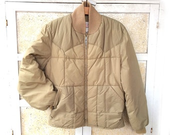 Vintage Western Down Jacket by Double K Brand, Beige with Ribbed Collar and Cuffs, Men's size S or 38