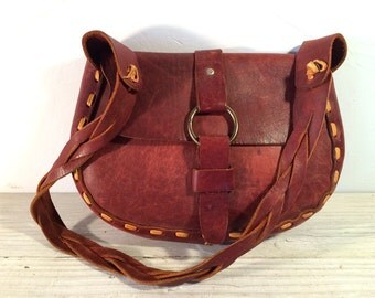 60's Vintage Hippie Purse Bag, Plain Brown Leather with Tan Hand Lacing, Braided Shoulder Strap