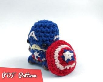 PDF Pattern for Crocheted Captain America from the Avengers Amigurumi Kawaii Keychain Miniature Doll Plush