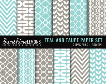 Teal and Taupe Digital Papers - Set of 12 - COMMERCIAL USE Read Terms Below