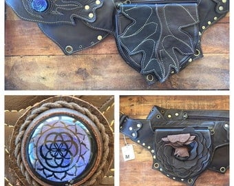 Sale Rose and leaf leather utility belt with sacred geometry dichroic glass pocket belt/ beltbag/ fanny pack