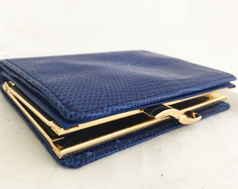 Wallet- Leather Colbalt Blue faux snakeskin Credit Card Holder with kiss lock clasp