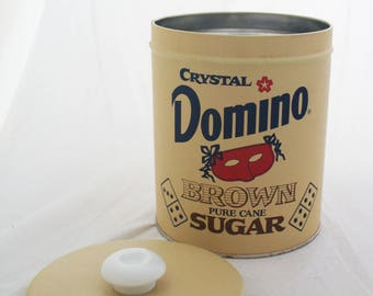 Canister - Medium Tan Domino Brown Sugar tin with lid